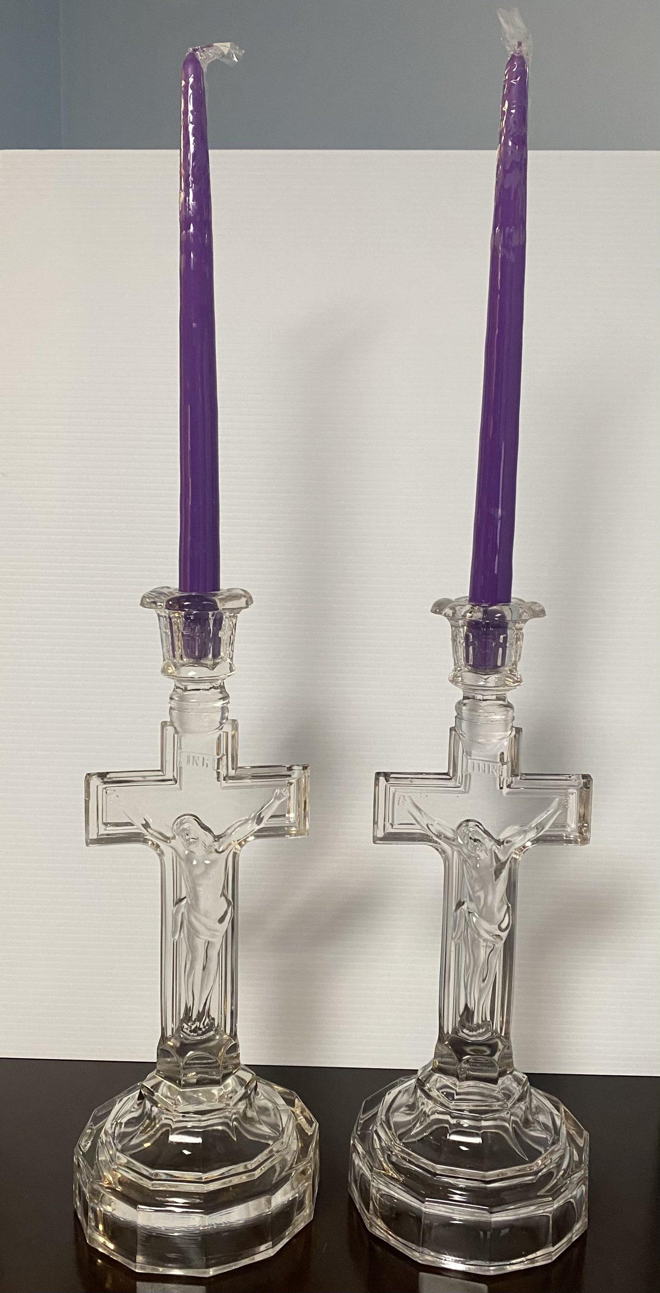 Glass Crucifix Candle sticks